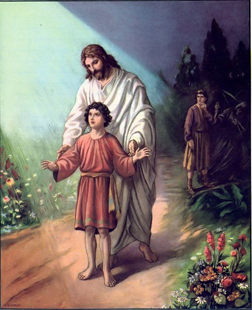 "The caption for this illustration reads, ""Jesus guiding a boy as father looks on."" Are we just not going to talk about the fact that the boy's father is trying to hand him over to the grim reaper?"